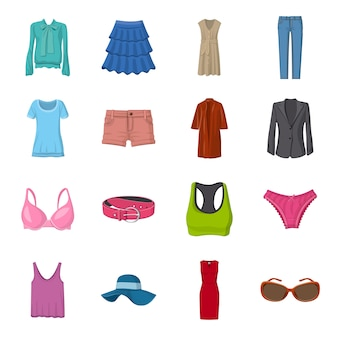 Conjunto de iconos de dibujos animados de moda, ropa de moda femenina.
