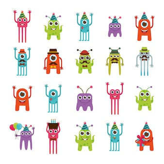 Conjunto de iconos de dibujos animados de monstruo