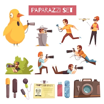 Conjunto de iconos de dibujos animados paparazzi fotógrafo