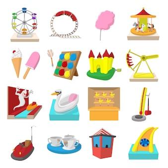 Conjunto de iconos de dibujos animados del parque de atracciones aislado