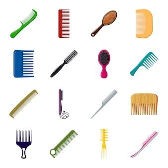 Conjunto de iconos de dibujos animados de peine, peine y cepillo.