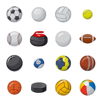 Conjunto de iconos de dibujos animados de pelota, pelota deportiva.