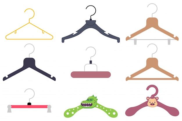 Conjunto de iconos de dibujos animados de percha.