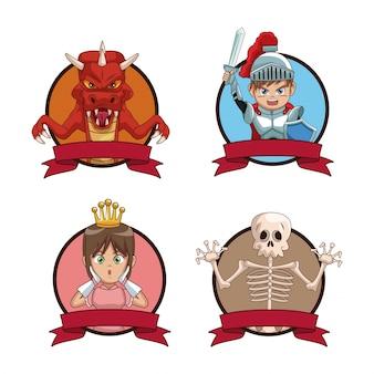 Conjunto de iconos de dibujos animados de personajes de videojuegos