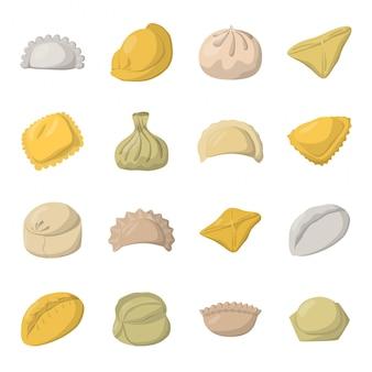 Conjunto de iconos de dibujos animados de pierogi