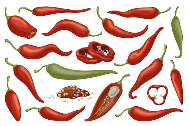 Conjunto de iconos de dibujos animados de pimiento de chile