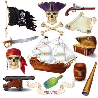 Conjunto de iconos de dibujos animados de piratas
