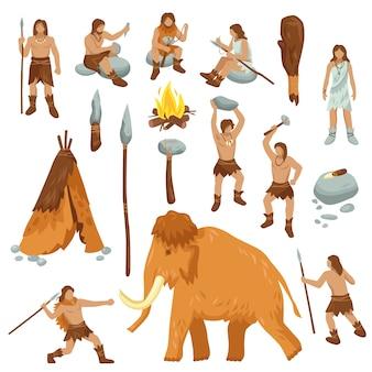 Conjunto de iconos de dibujos animados plana personas primitivas