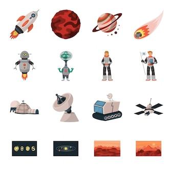 Conjunto de iconos de dibujos animados de planeta espacial