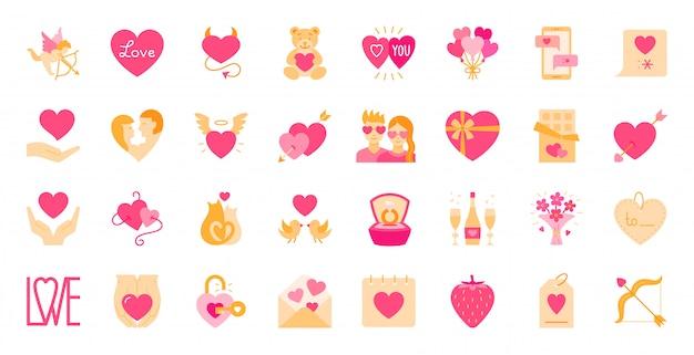Conjunto de iconos de dibujos animados planos de día de san valentín