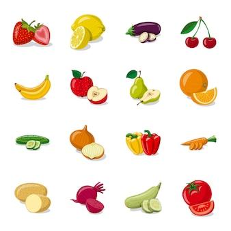 Conjunto de iconos de dibujos animados de producción de frutas, alimentos frescos de frutas.