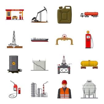 Conjunto de iconos de dibujos animados de producción de petróleo. ilustración de producción de petróleo.