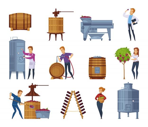 Conjunto de iconos de dibujos animados de producción de vino