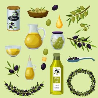 Conjunto de iconos de dibujos animados de productos de aceitunas