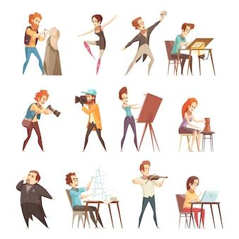 Conjunto de iconos de dibujos animados de profesiones creativas