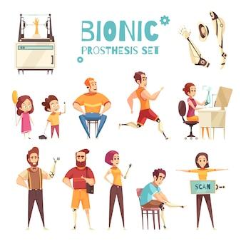 Conjunto de iconos de dibujos animados de prótesis biónica