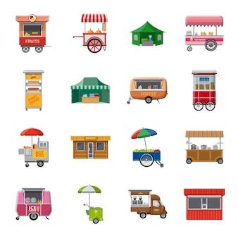 Conjunto de iconos de dibujos animados de puesto, puesto en el mercado.