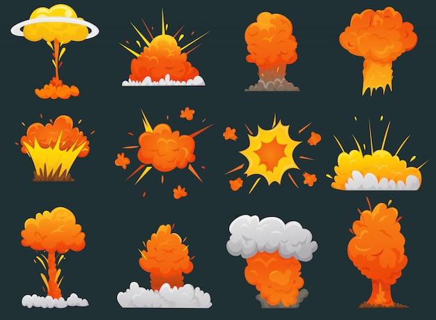 Conjunto de iconos de dibujos animados retro explosión