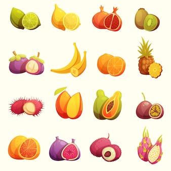 Conjunto de iconos de dibujos animados retro de frutas tropicales