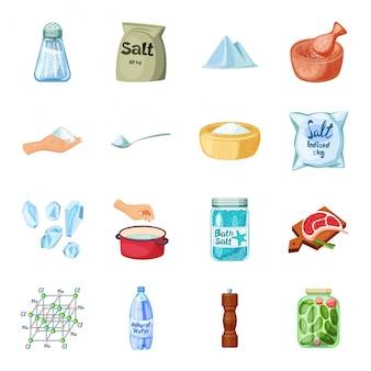 Conjunto de iconos de dibujos animados de sal