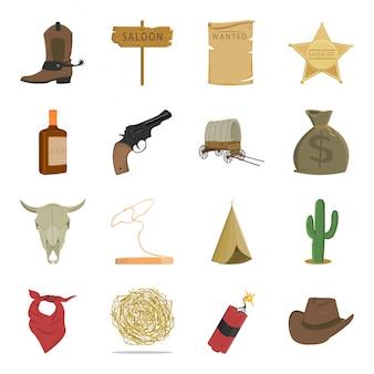 Conjunto de iconos de dibujos animados salvaje oeste