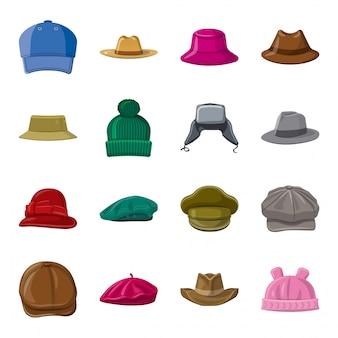 Conjunto de iconos de dibujos animados de sombrero, sombrero de moda.