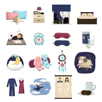 Conjunto de iconos de dibujos animados de sueño, lindo sueño.