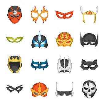 Conjunto de iconos de dibujos animados de superhéroes de máscara