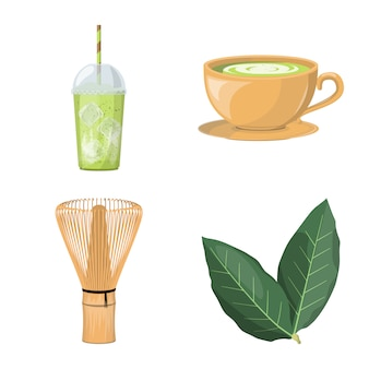 Conjunto de iconos de dibujos animados de té matcha