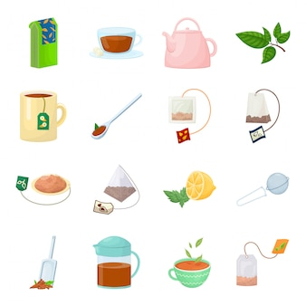 Conjunto de iconos de dibujos animados de té