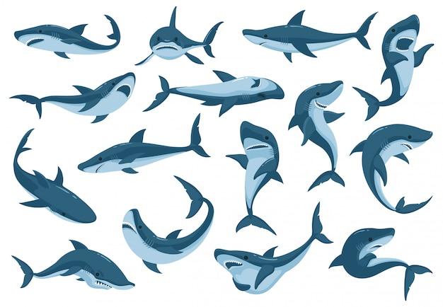 Conjunto de iconos de dibujos animados de tiburones de mar