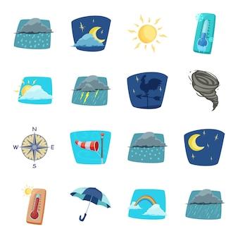 Conjunto de iconos de dibujos animados del tiempo, pronóstico del tiempo.
