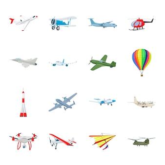 Conjunto de iconos de dibujos animados de transporte aéreo, avión.