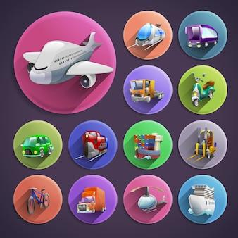 Conjunto de iconos de dibujos animados de transporte