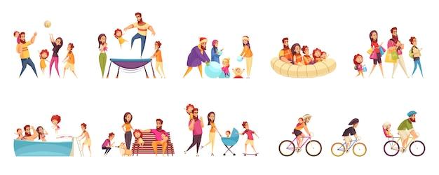 Conjunto de iconos de dibujos animados vacaciones familiares activas padres con hijos en diversas actividades