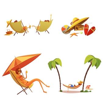Conjunto de iconos de dibujos animados de vacaciones de verano