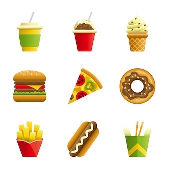 Conjunto de iconos de dibujos animados de vector de comida rápida
