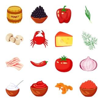Conjunto de iconos de dibujos animados de vector de especias
