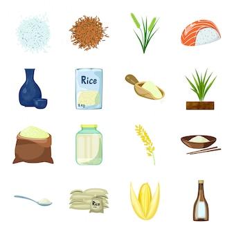 Conjunto de iconos de dibujos animados de vector de hielo