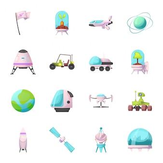 Conjunto de iconos de dibujos animados de vector de misión espacial