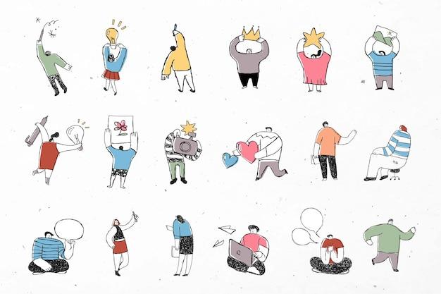 Conjunto de iconos de dibujos animados de vector de negocio colorido lindo