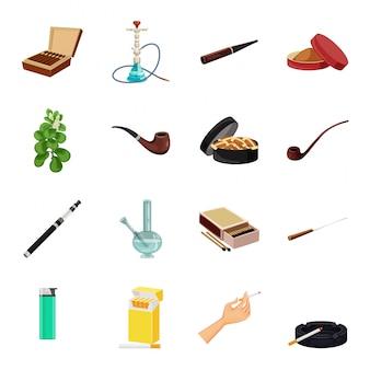 Conjunto de iconos de dibujos animados de vector de tabaco