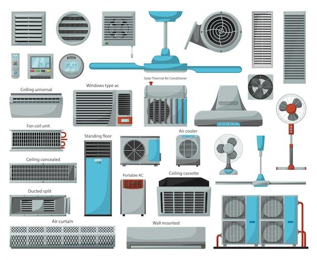 Conjunto de iconos de dibujos animados de ventilador de aire