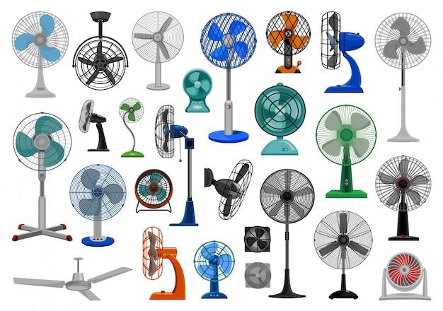 Conjunto de iconos de dibujos animados de ventilador eléctrico