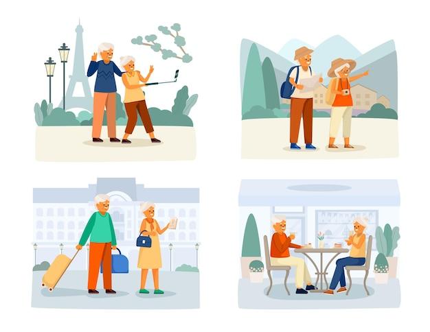 Conjunto de iconos de dibujos animados de vida feliz de personas mayores con una pareja que se toma selfies y se va de vacaciones