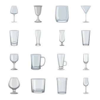 Conjunto de iconos de dibujos animados de vidrio.