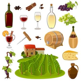 Conjunto de iconos de dibujos animados de vino