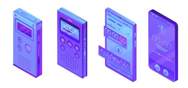 Conjunto de iconos de dictáfono, estilo isométrico.