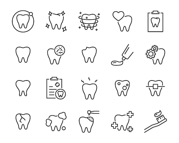 Conjunto de iconos de dientes