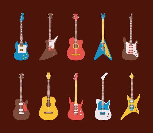 Conjunto de iconos de diez guitarras